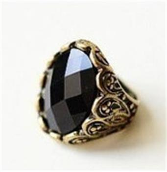 1x Retro Carved Patterns Rhinestone Black Stone Rings Ring w150 great gift SX4