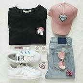 hat,patch,pink unicorn,unicorn,black sweater,adidas superstars,cap,pink sunglasses,drop dead clothing,outfit,shirt
