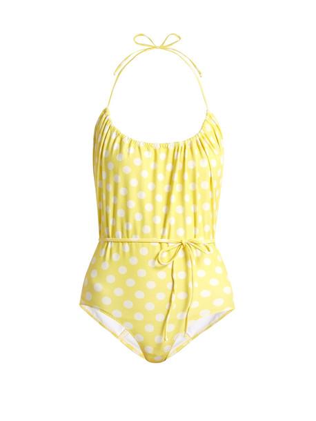 print yellow swimwear