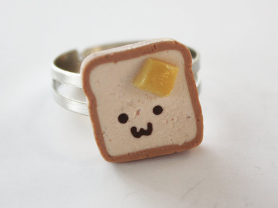Buttered Toast Adjustable Ring by DebraMarieDesigns on Etsy