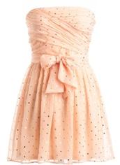 dress,pink polka dot,sequin dress,peach,polka dotted,sprinkles,pretty,short,strapless