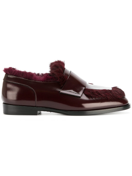 fur women loafers leather red shoes