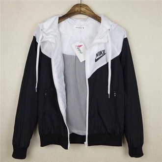 jacket nike white black coat black and white sportswear active nike windbreaker windbreaker cute nike jacket nike sportswear women girl girly waterproof rain nike clothing clothes love style