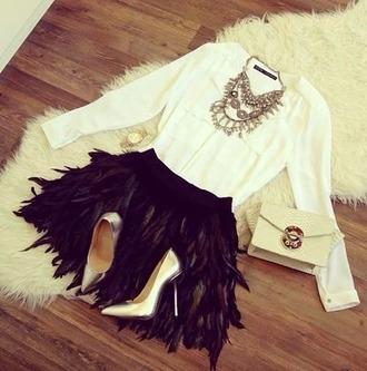 skirt black skirt high heels acessories white blouse