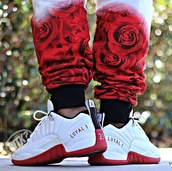 red,white,roses,joggers,cute,mens shoes,money,pyramids