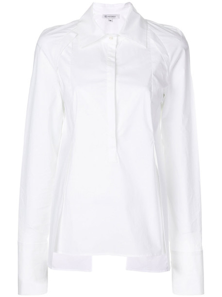 Io Ivana Omazic shirt women slit spandex white cotton top