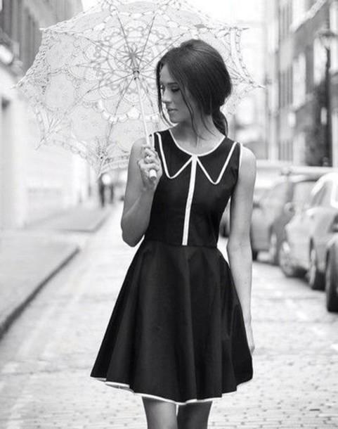 dress little black dress white lined lined collar collared dress black dress umbrella black and white white