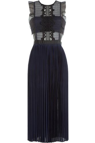 dress lace dress pleated sleeveless lace blue