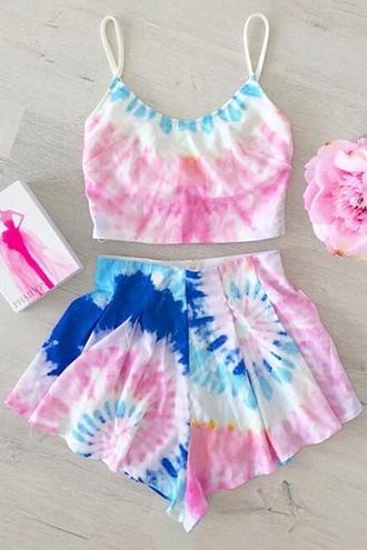 romper blue pink fashion beach summer tie dye