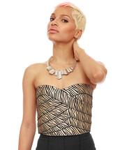 top,metallic,bustier,animal print,zebra print