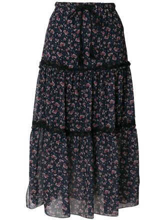 skirt maxi skirt maxi women floral cotton print blue