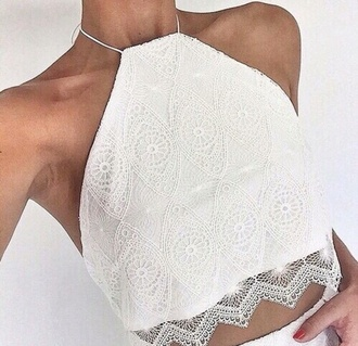 shirt lace top white lace top crop tops halter crop top halterneck white lace crop top