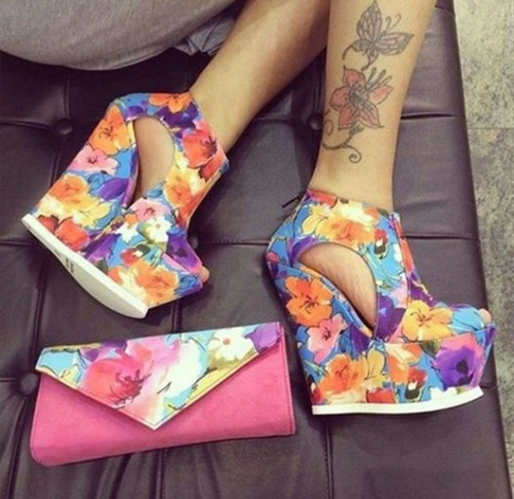 shoes wedges high heels flower colourful purple orange yellow heel holiday gorgeous