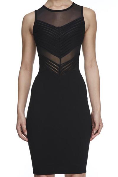 Sheer magic mesh cut out little black dress