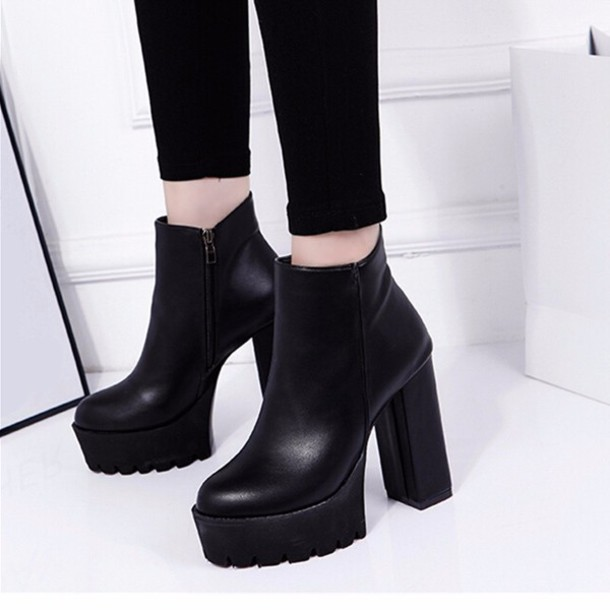 Shoes: heels, boots, booties, ankle boots, black boots, cut out ...
