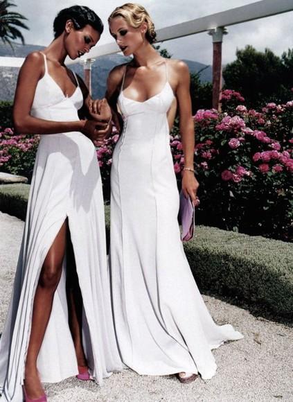 slit split spaghetti dress long gown