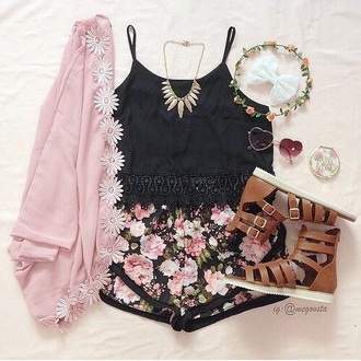 tank top black shorts shoes sunglasses hair accessory jewels jacket