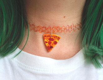 jewels pizza choker necklace tattoo coker orange grunge indie hipster necklace cute tattoo necklace stretchy necklace 90's trend 90s style hipster necklaces neclace pizza bestthing arctic monkeys tattoo chocker pizza necklace tattoo choker
