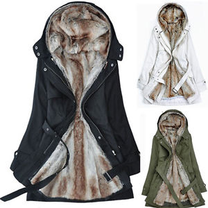 FASHION LADIES 2IN1 INNER FUR LINING HOODED PARKA JACKET WOMENS ...