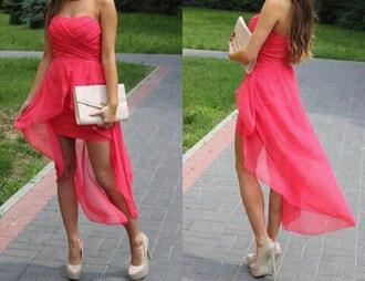 dress pink high-low dresses sleeveless flowy shoes