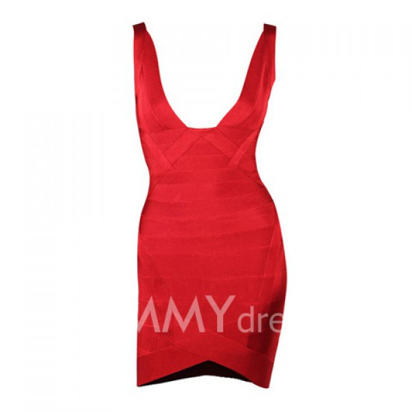 Sexy plunging neck sleeveless slim fit bandage dress for women