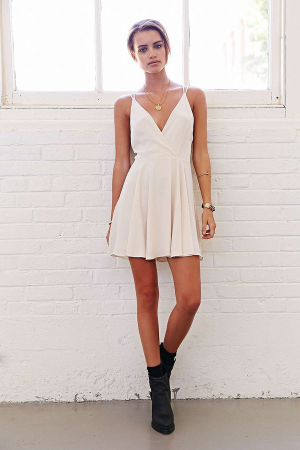 LUCLUC White Deep V-Neck Sleeveless Skater Dress - LUCLUC