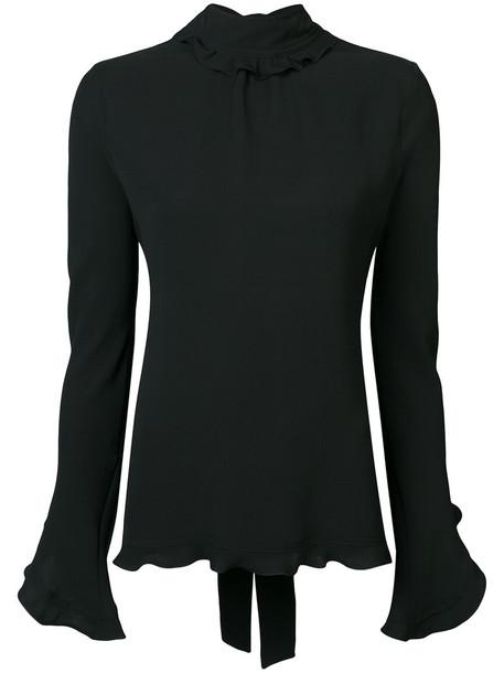 DEREK LAM blouse back long open open back ruffle women black silk top
