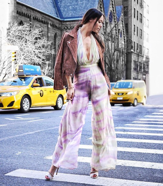 jumpsuit suede suede jacket date outfit tumblr wide-leg pants v neck plunge v neck tie dye sandals sandal heels high heel sandals white sandals jacket spring outfits