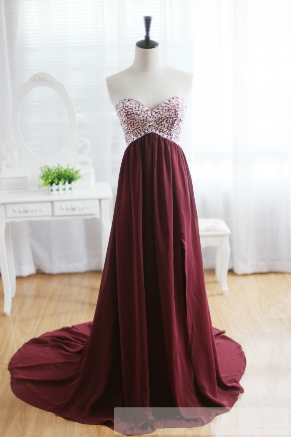Custom wine red sleeveless strapless formal sweetheart beaded chiffon sweep prom party bridesmaid dresses a123