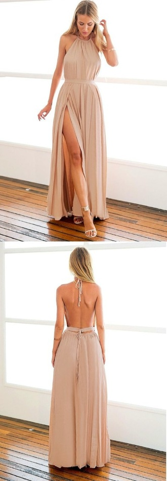 dress tan backless nude dress