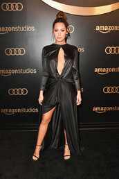 shoes,sandals,all black everything,red carpet dress,keyhole dress,ashley tisdale,slit dress,maxi dress,black dress,Golden Globes 2018