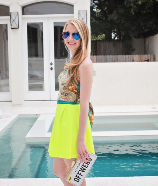 sugarlaws blogger sunglasses scarf top jewels bag neon paisley aviator sunglasses skirt shoes