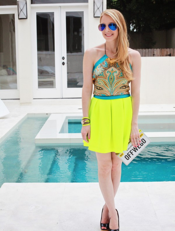 sugarlaws blogger sunglasses scarf top jewels bag neon paisley aviator sunglasses skirt shoes