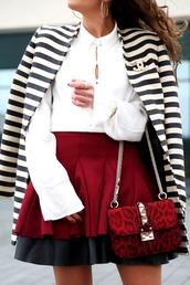 skirt,tumblr,red skirt,mini skirt,ruffle,ruffle skirt,shirt,white shirt,coat,stripes,striped coat,bag,red bag,chain bag,date outfit