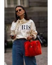 sweater,white sweater,scarf,jeans,handbag,earrings,retro sunglasses