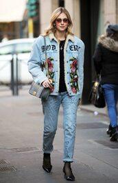 jacket,denim jacket,jeans,chiara ferragni,denim,blogger,the blonde salad
