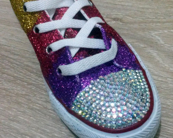 gift shoes converse clothes women swarovski shoes wedding clothes rhinestones women's shoe crystals birthday gift mothers day rainbow glitter shoes glitter swarovski