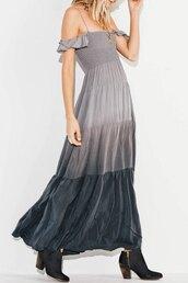 dress,grey,fashion,style,trendy,off the shoulder,maxi dress,cute,boho,zaful