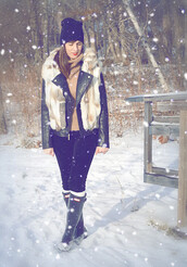 dailystylefinds,blogger,jacket,sweater,hat,shoes,socks,make-up,winter outfits,fur vest,black leather jacket,wellies,beanie,turtleneck sweater