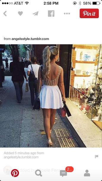 dress white dress gold white backless dress