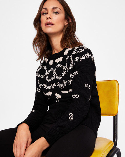 sweater patterned sweater embellished bee black