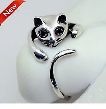 Cute Silver Cat Shaped Ring With Rhinestone Eyes, Adjustable and Resizeable! | eBay