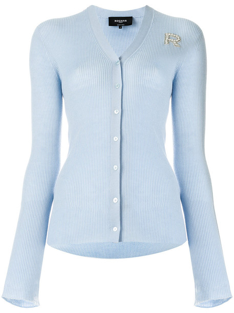 Rochas - logo brooch cardigan - women - Silk/Polyester/Virgin Wool/glass - 42, Blue, Silk/Polyester/Virgin Wool/glass