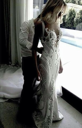 dress j'aton couture wedding dress laser cut clothes wedding dress wedding clothes white white dress