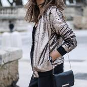 jacket,tumblr,metallic,sequins,gold sequins,sequin jacket,pants,black pants,bag,black bag,chain bag,black watch,watch