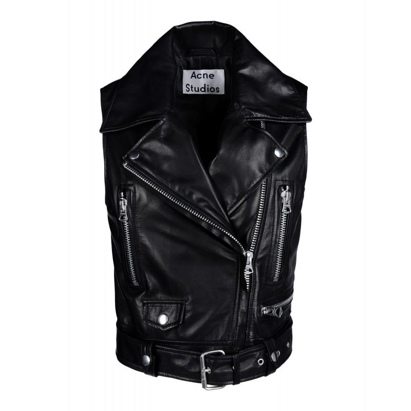 Selby sleeveless leather moto jacket