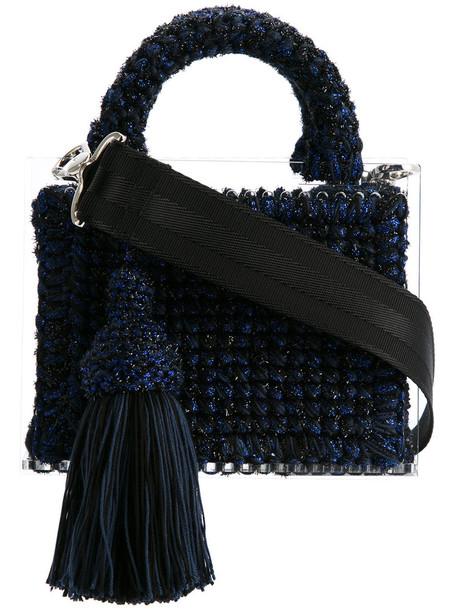 metallic women blue bag