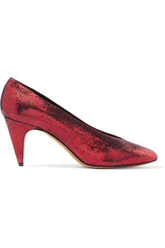 metallic pumps leather red shoes