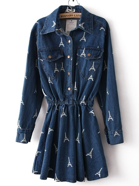 Navy long sleeve cross print pockets denim dress