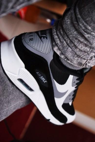 shoes noir blanc gris basket nike air air max grey and black grey